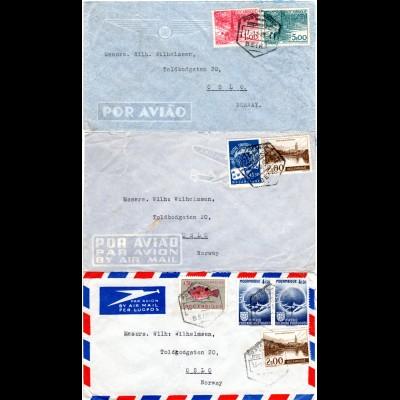Mocambique, 3 Luftpost Briefe nach Norwegen.