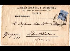 Spanien 1890, 5 C. auf Drucksachenschleife v. Madrid n. Schweden