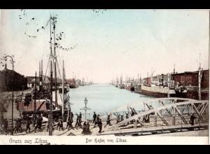 Lettland, Gruss aus Libau m. Hafen u. Militär, 1906 gebr. Farb-AK