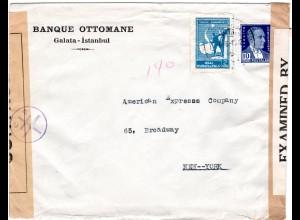 Türkei 1942, 2+10 K. auf Mehrfach-Zensur Brief v. Galata n. USA