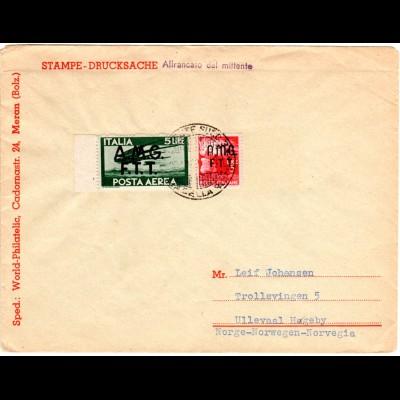 Italien Trieste 1948, 3+5 L. AMG FTT auf Drucksache n. Norwegen. Destination!