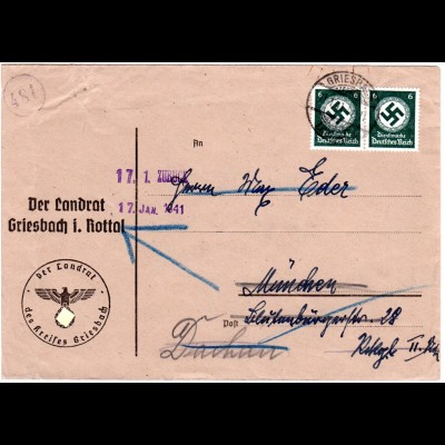DR 1941, 2x6 Pf. Dienst auf Landrat Brief v. GRIESBACH. Hoheitszeichen abgedeckt