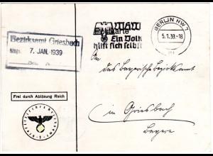 DR 1939, Frei durch Ablösung Reich auf Karte v. Berlin. Hoheitszeichen abgedeckt