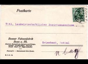 DR 1914, 5 Pf. m. perfin auf Firmenkarte v. Bonn