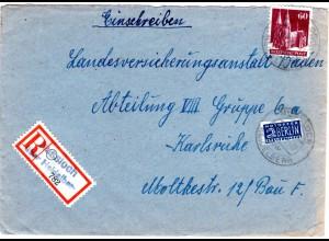 1948, Not-Reko-Zettel v. Nussloch über Heidelberg auf Brief m. 60 Pf. Bauten