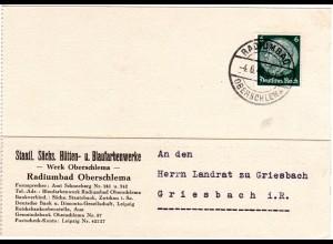 DR 1940, 6 Pf. auf Vordruck Karte m. Stpl. RADIUMBAD OBERSCHLEMMA