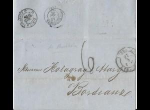 K2 Lübeck T&T 1865 auf Forwarder Brief v. Stockholm Schweden n. Frankreich #2296
