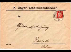 Bayern 1916, 10 Pf. Dienst auf Brief d. Bayer. Staatseisenbahnen v. Frankenthal