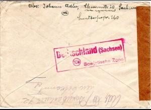 SBZ 1948, 50 Pf. auf Zensur Brief v. Chemnitz n. Österreich. Rücks. rot PLZ-R3