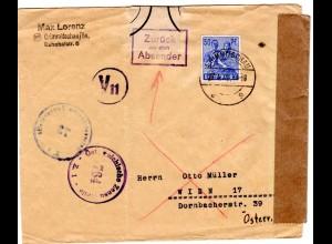 SBZ 1946, 50 Pf. auf Brief v. Crimmitschau n. Österreich. Amtlich verschlossen