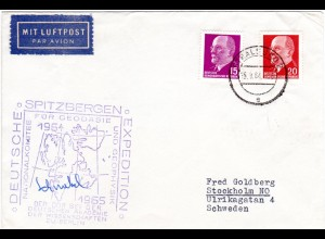 DDR 1964/5, Dt. SPITZBERGEN EXPEDITION der DDR, Brief m. 10+20 Pf. ab Stralsund