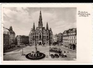 Reichenberg, A. Hitlerplatz m. Trambahn u. Oldtimern, 1942 gebr. Sudeten sw-AK