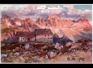 Italien, Südtirol, Gruss v. Schlern m. Schlernhaus, ungebr. Farb-AK m. DÖAV Stpl