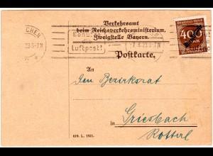 DR 1923, EF 400 Mk. Dienst auf Reichsverkehrsministerium Karte v. München