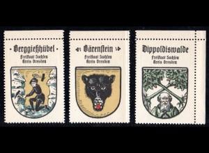 Sachsen, Berggießhübel, Bärenstein, Dippoldiswalde, 3 Stadtwappen Sammelmarken