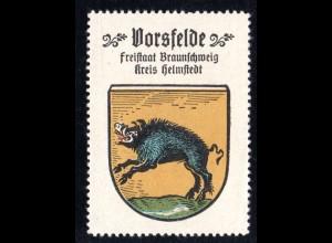 Vorsfelde Kr. Helmstedt, Stadtwappen Sammelmarke m. Abb. Wildschwein Keiler