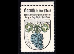 Baruth in der Mark, Stadtwappen Sammelmarke m. Abb. Wein Traube