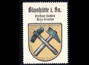 Glashütte in Sachsen, Stadtwappen Sammelmarke m. Abb. Hammer u. Schlägel