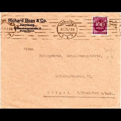 DR 1923, 100 Mk. m. perfin RBC auf Firmen Brief v. Hamburg