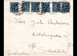 DR 1923, MeF 6x50 Mk. auf Brief v. Dresden nach Schweden.