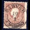 Österreich 10 Kr. Type I m. zentrischem Ungarn Zier-Stpl. SARVAR. Luxus!