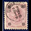 Österreich 15 Kr. m. zentr. Oberösterreich Fingerhut-Stpl. GMUNDEN