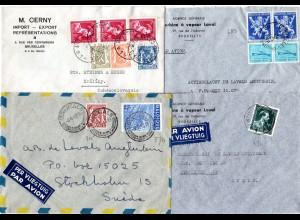 Belgien 1947/49, 4 verschieden frankierte Luftpost Briefe nach Schweden.
