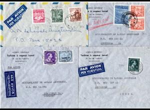 Belgien 1947/49, 4 versch. frankierte Luftpost Briefe nach Schweden.