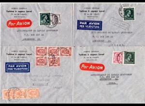 Belgien 1946/48, 4 unterschiedlich frankierte Luftpost Briefe nach Schweden.
