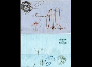 Sachsen 1857, N. DRESDEN BAHNH.POST=EXPED., klarer K2 auf Porto Brief n. NL