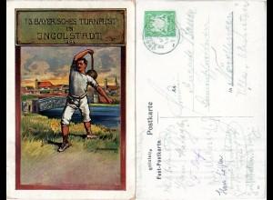 Bayern 1909, 13. Bay. Turnfest Ingolstadt, m. Sonderstpl. gebr. Privatganzsache