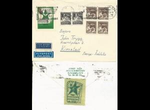 Tschechoslowakei, Luftpost Brief m. 2 Esperanto Vignetten n. Schweden. #879