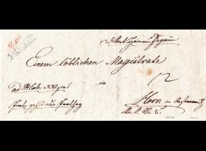 Österreich 1843, R1 FALKENAU auf Dienstbrief n. Horn