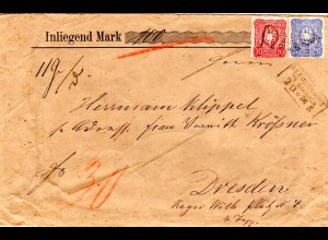 DR 1876, 10+20 Pfge. auf gesiegeltem Wert Brief m. R3 NEUGERSDORF IN SACHSEN