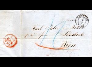 Sachsen 1858, K2 LEIPZIG auf Porto Brief n. Österreich.