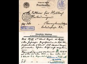 Bayern 1908, Frei durch Ablösung auf Dienst Karte v. Oberammergau n. Kempten.