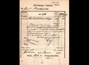 Bayern 1874, blauer K1 GLEISWEILER auf Formular d. Kgl. Post & Zeitungs Expedit.
