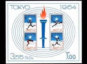 Olympische Spiele Tokyo 1964, postfrischer Somalia Block 1 (50 €)