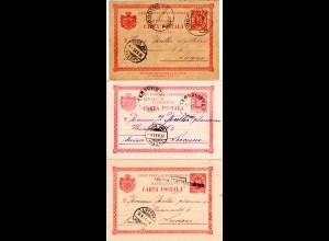 Rumänien 1899/1901, 3 versch. Tergoviste Stpl. auf 3 Karten