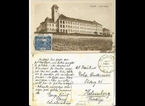 Tschechoslowakei 1920, AK Slany m. 50 H. u. Esperanto Text n. Schweden. #784