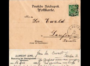 DR 1898, 5 Pf. m. Firmenlochung auf Karte v. Hunstig b. Dieringhausen