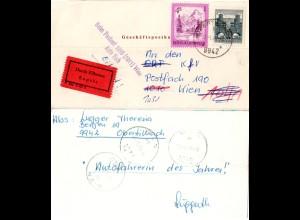 Österreich 1975, 50 Gr.+4 S. auf Eilboten Geschäftspostkarte v. Obertilliach