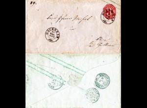 Württemberg 1863, K2 GSCHWEND auf 3 Kr. Ganzsache Brief m. rs. Bahnpost Stpl.