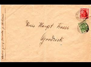 Polen / DR 1919, 5 G.+10 Pf. Mischfrankatur auf Brief v. MICHORZEWO n. Grodzisk