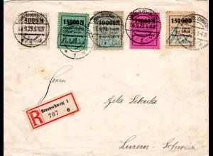 DR 1923, 5 Werte Braunschweig Lokalausgabe auf Reko Brief i.d. Schweiz