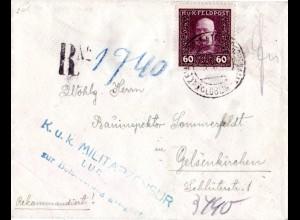 Österreich 1918, 60 H. Feldpost auf Reko Brief v. LUBLIN n. Deutschland
