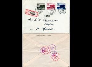 Norwegen 1943, Nordkap kpl. auf Reko Brief v. Oslo m. rücks. Postetiketten