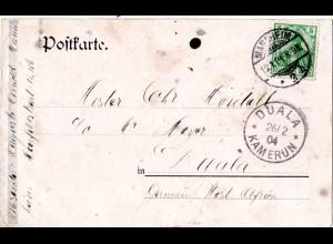 DR 1904, 5 Pf. auf AK v. Mannheim n. Duala, Kamerun m. Kolonien Ankunftstempel
