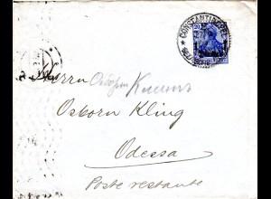 Dt. Post Türkei 1909, 1 Pia./20 Pf. auf Brief v. Constantinopel n. Russland