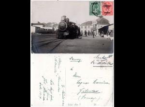 DSWA 1925, apt. Stpl. KOLMANNSKUP auf Eisenbahn-AK m. 1/2+1d n. Norwegen.